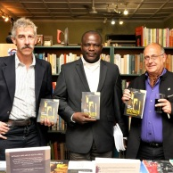From left to right: Prof Tim Quinlan, Dr Segun Ige and Prof Alan Whiteside. Launch of African Reponses to HIV/AIDS at Ikes Books on Florida Road, Durban