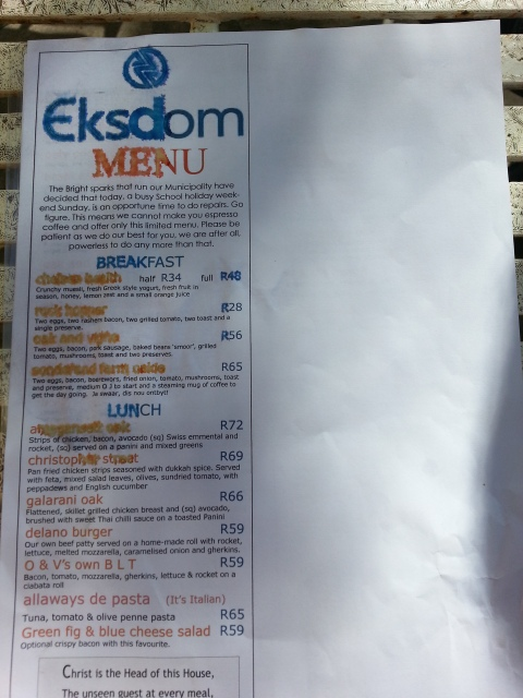The Eskom menu, Greyton, 2014