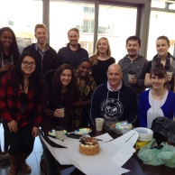 With the Human Security Stream, Masters in Public Policy Students and the cake they so kindly brought to mark the award (March 2015)