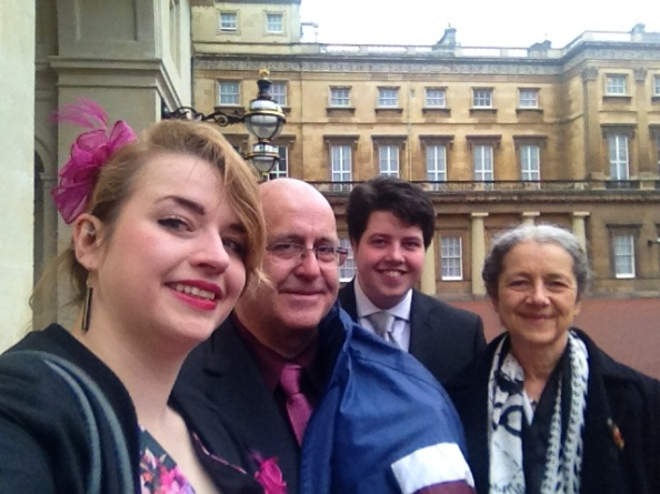 The family in the courtyard at Buckingham Palace