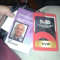 Global Citizen pass and VVIP badge